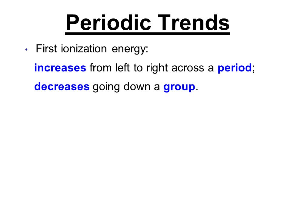 Periodic Trends First ionization energy: