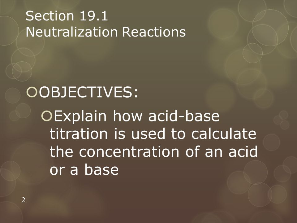 Section 19.1 Neutralization Reactions