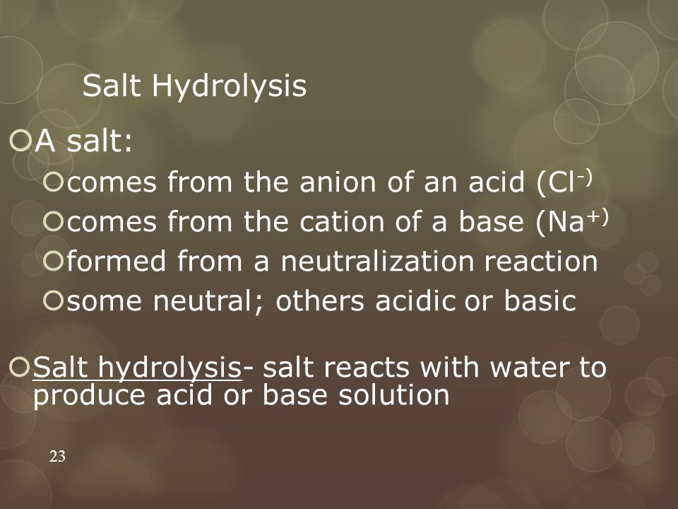 A salt: Salt Hydrolysis comes from the anion of an acid (Cl-)