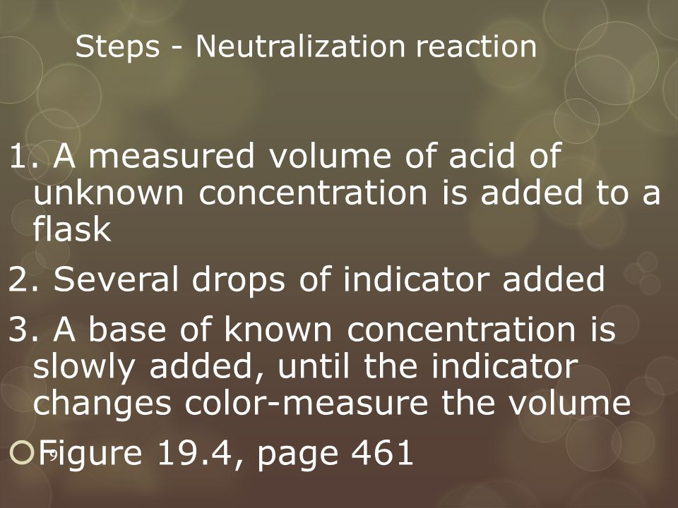 Steps - Neutralization reaction