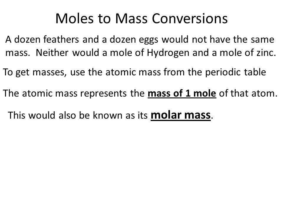 moles to mass conversions - Periodic Table Atomic Mass Zinc