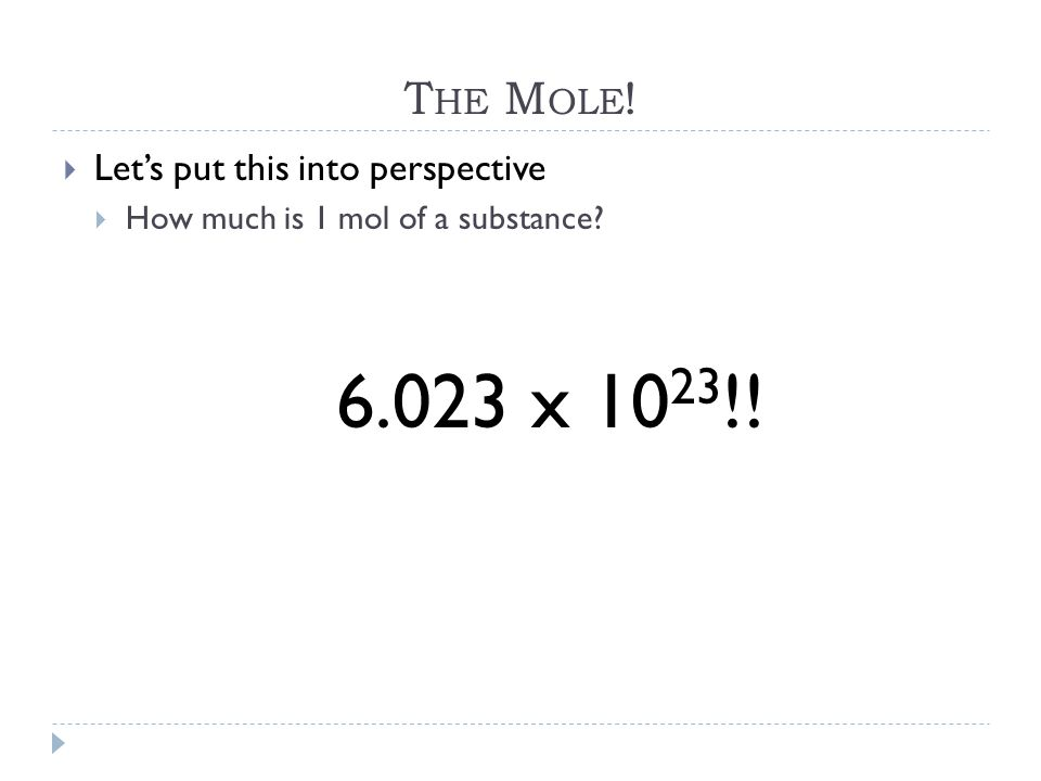 The Mole! Let's put this into perspective 6.023 x 1023!!