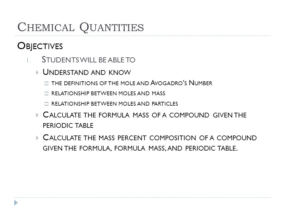 Chemical Quantities Objectives Students will be able to