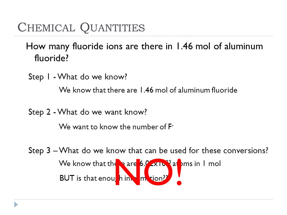 NO! Chemical Quantities