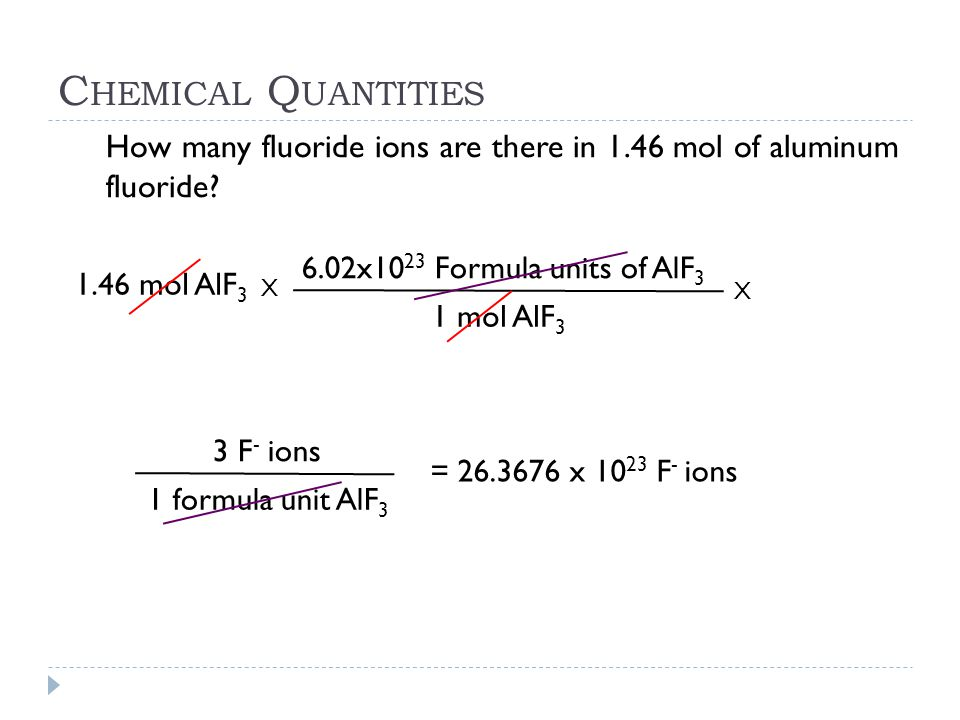 Chemical Quantities How many fluoride ions are there in 1.46 mol of aluminum fluoride 6.02x1023 Formula units of AlF3.