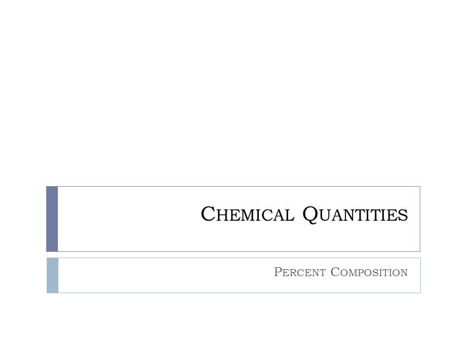 Chemical Quantities Percent Composition