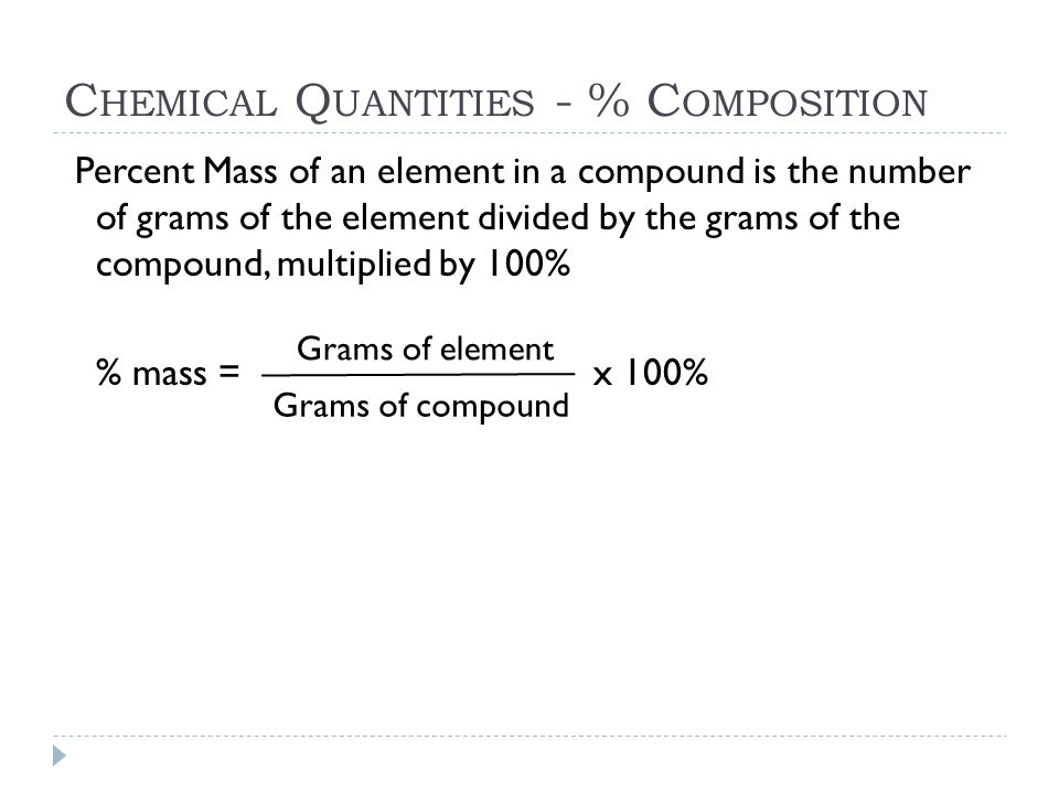 Chemical Quantities - % Composition