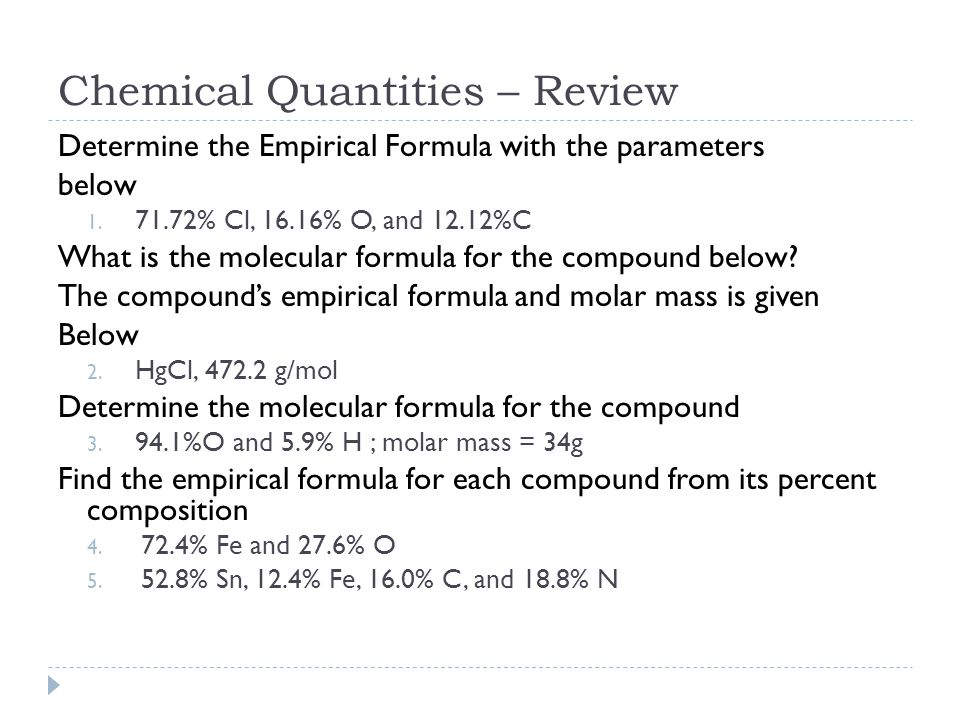 Chemical Quantities – Review