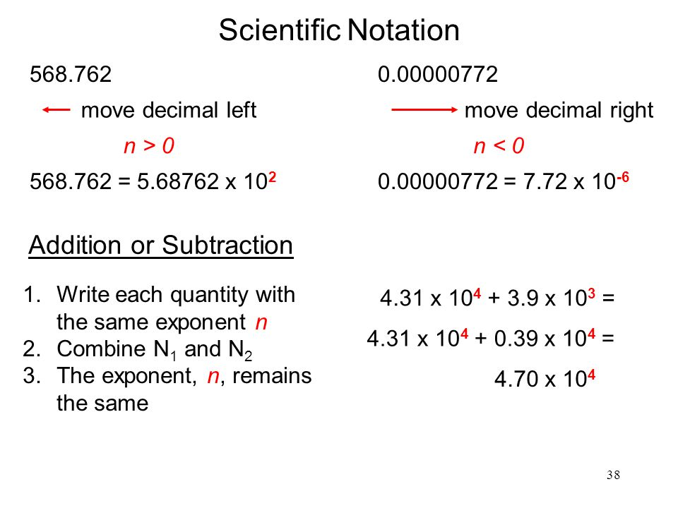 Scientific Notation Addition or Subtraction 568.762 0.00000772