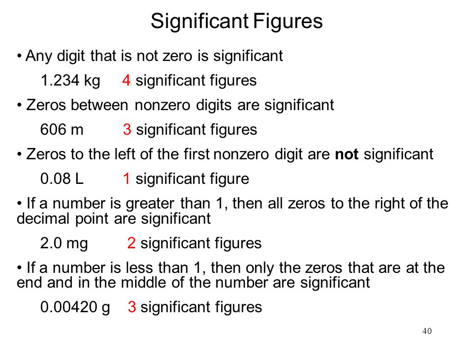 Significant Figures Any digit that is not zero is significant