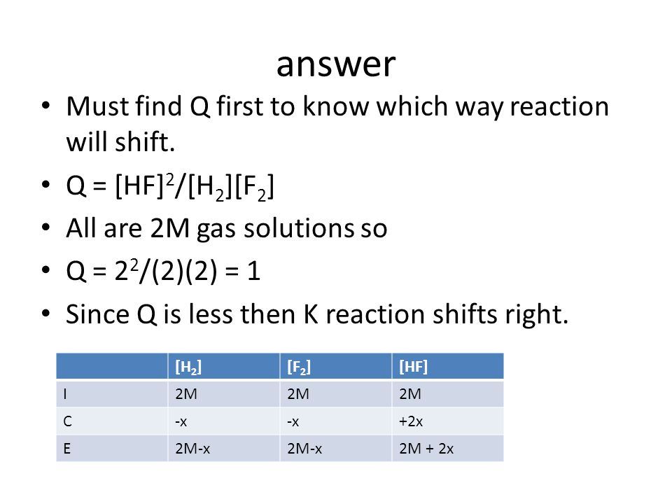 answer Must find Q first to know which way reaction will shift.