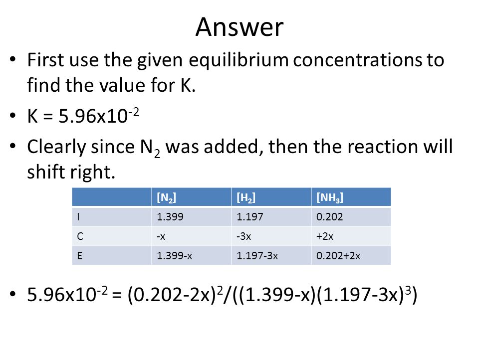 Answer First use the given equilibrium concentrations to find the value for K. K = 5.96x10-2.