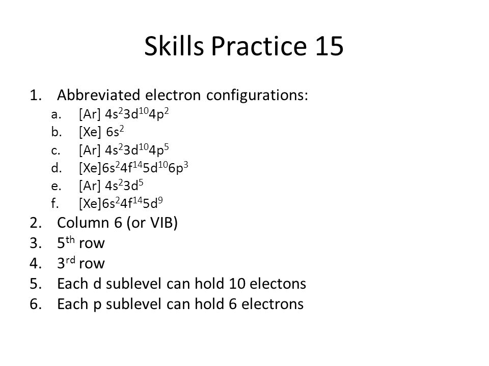 Skills Practice 15 Abbreviated electron configurations: