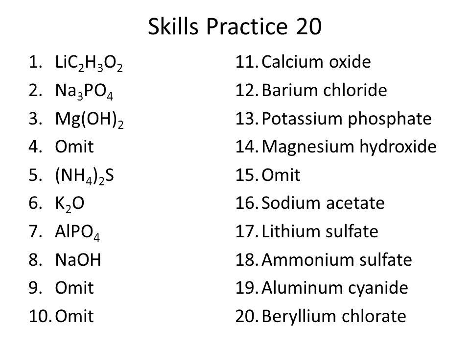 Skills Practice 20 LiC2H3O2 Calcium oxide Na3PO4 Barium chloride