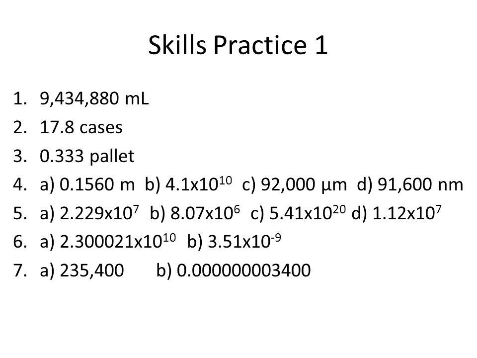 Skills Practice 1 9,434,880 mL 17.8 cases 0.333 pallet
