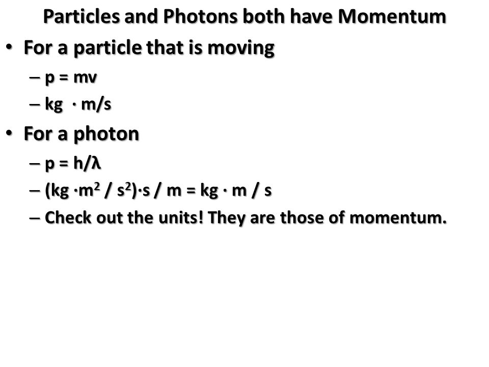 Particles and Photons both have Momentum