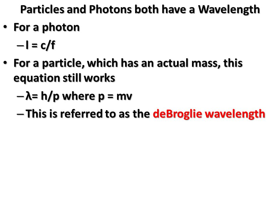 Particles and Photons both have a Wavelength