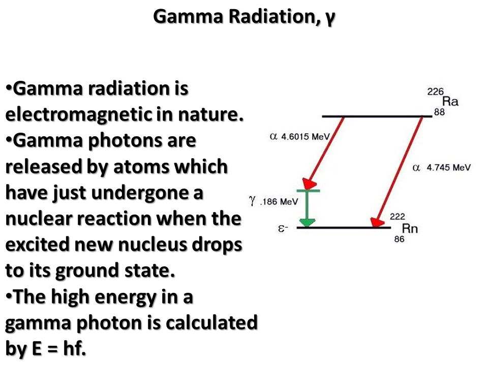 Gamma Radiation, γ Gamma radiation is electromagnetic in nature.