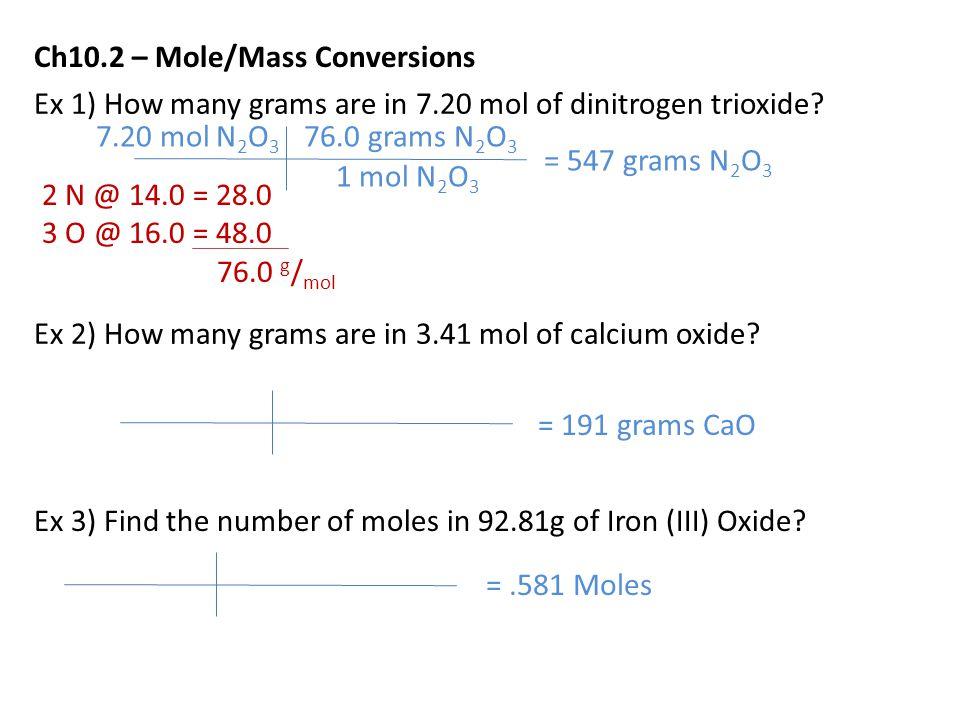 Ch10.2 – Mole/Mass Conversions