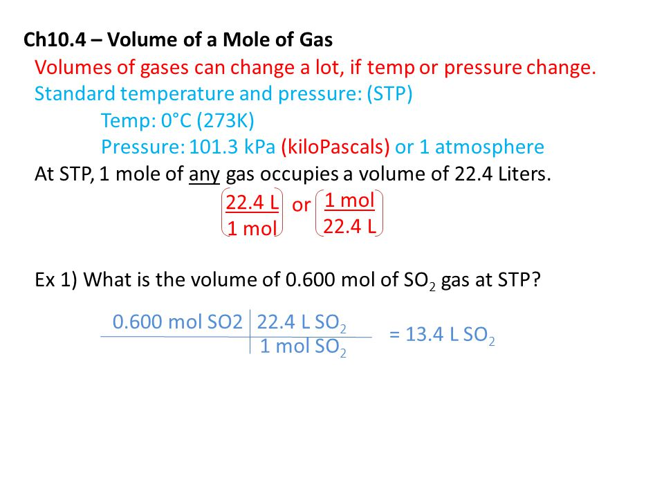 Ch10.4 – Volume of a Mole of Gas