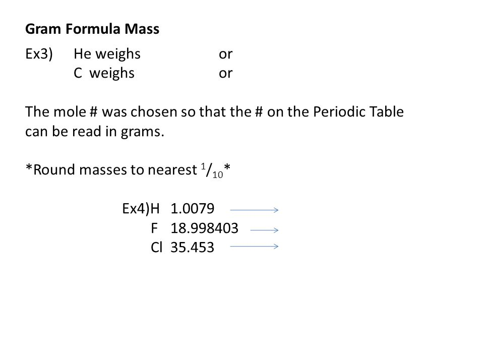 Gram Formula Mass Ex3) He weighs or. C weighs or. The mole # was chosen so that the # on the Periodic Table.