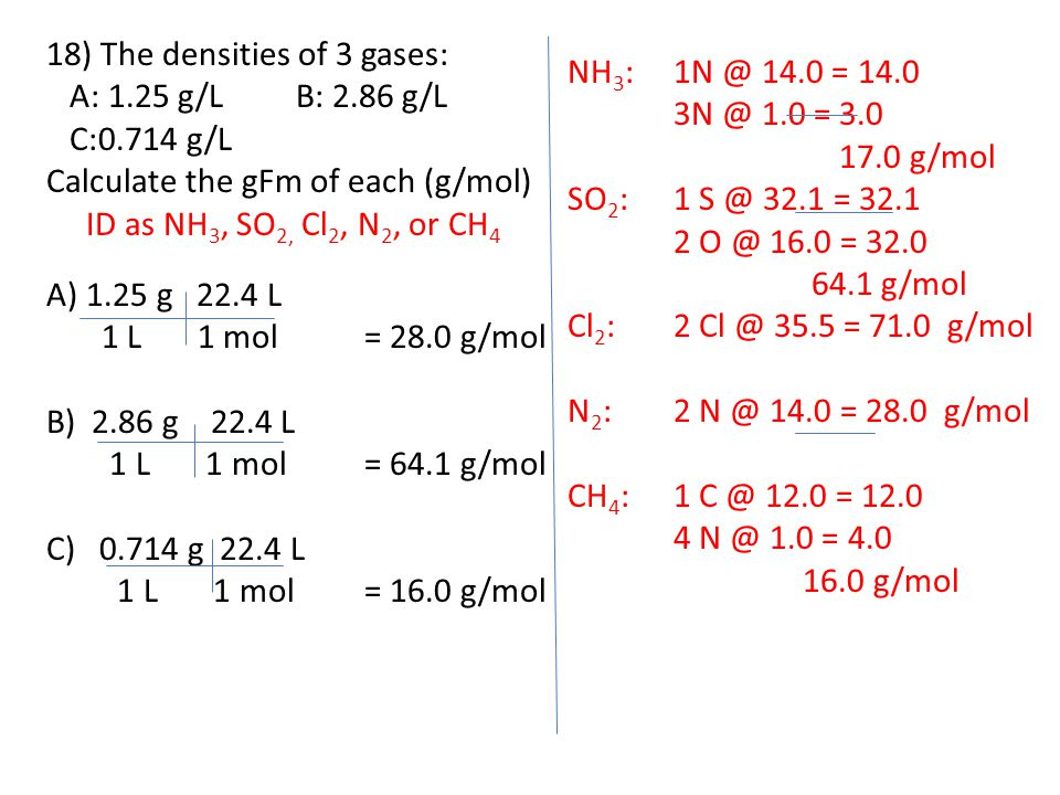 18) The densities of 3 gases: