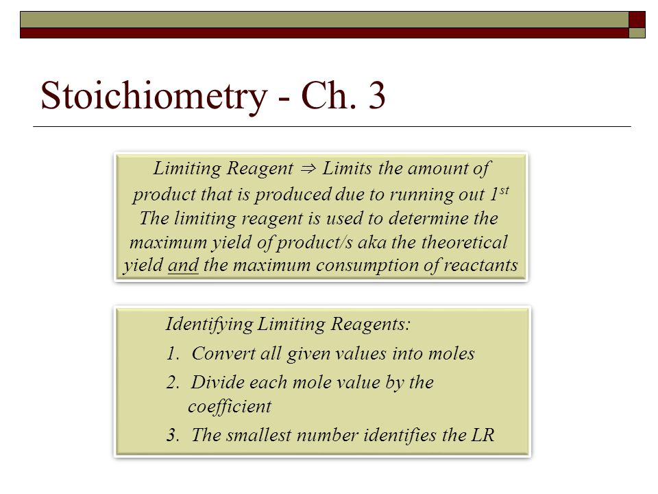 Stoichiometry - Ch. 3 Limiting Reagent ⇒ Limits the amount of