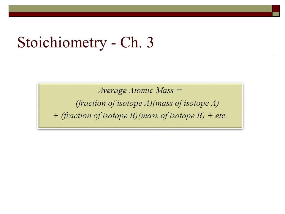 Stoichiometry - Ch. 3 Average Atomic Mass =