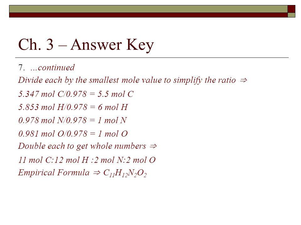 Ch. 3 – Answer Key