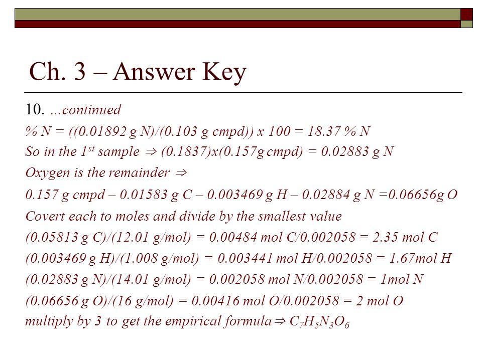Ch. 3 – Answer Key 10. …continued