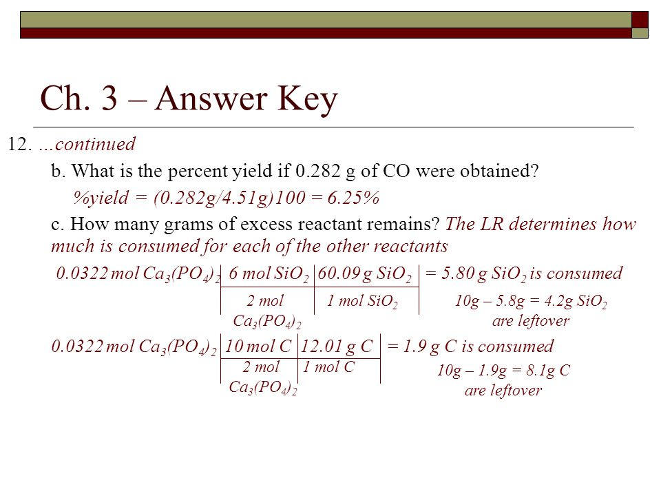 Ch. 3 – Answer Key 12. …continued