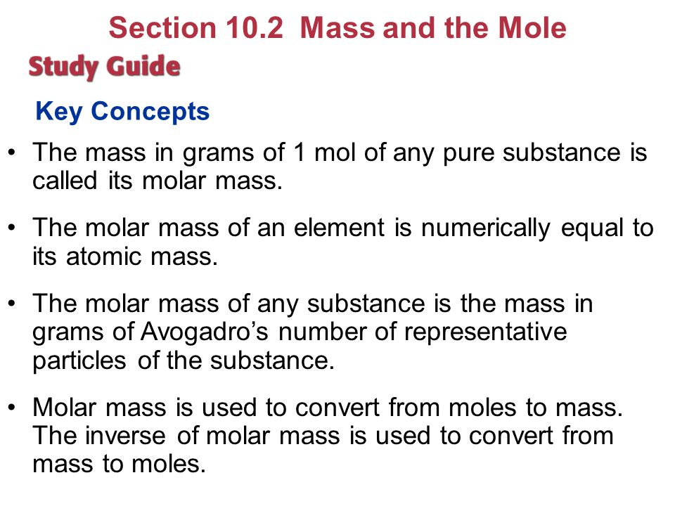 Section 10.2 Mass and the Mole