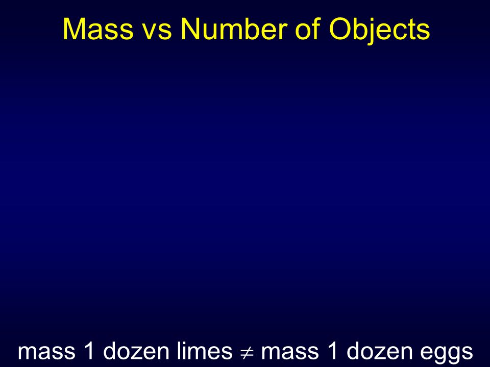 Mass vs Number of Objects