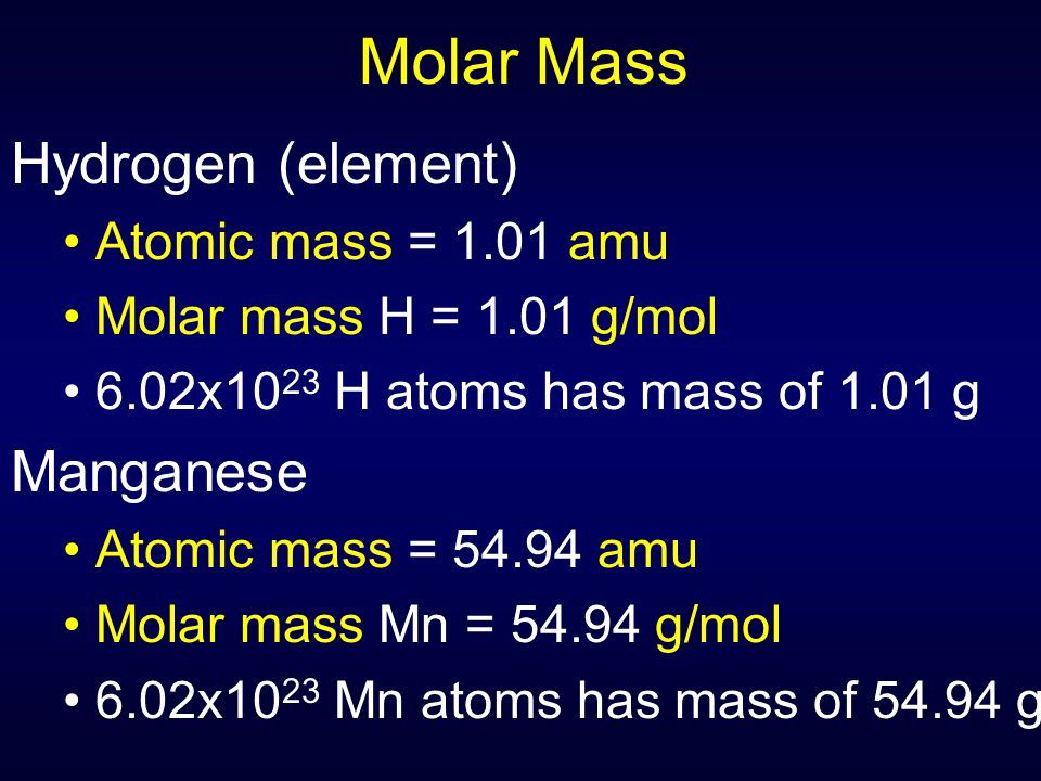 Molar Mass Hydrogen (element) Manganese Atomic mass = 1.01 amu
