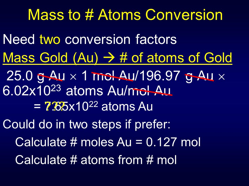 Mass to # Atoms Conversion