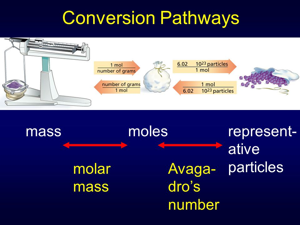 Conversion Pathways mass moles represent- ative particles molar mass