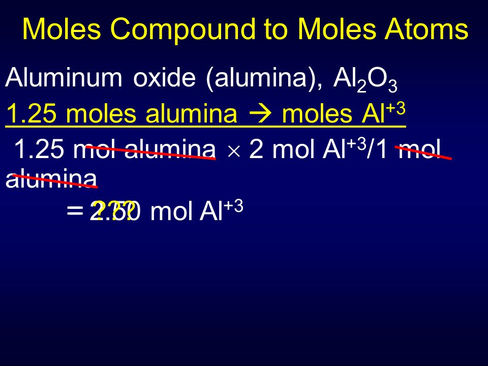Moles Compound to Moles Atoms