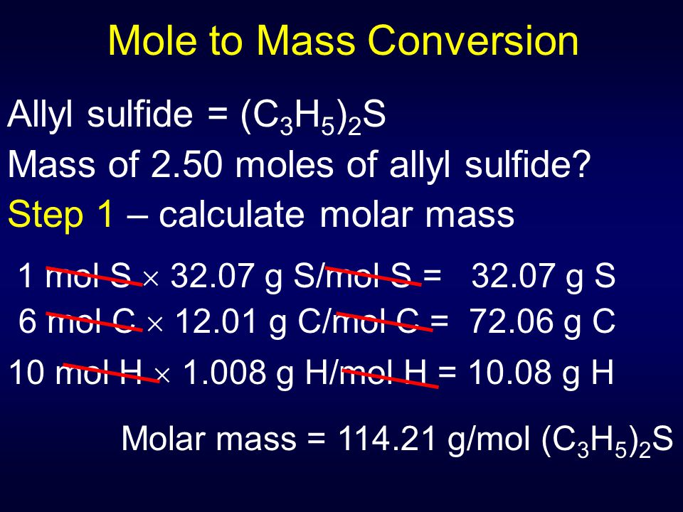 Mole to Mass Conversion
