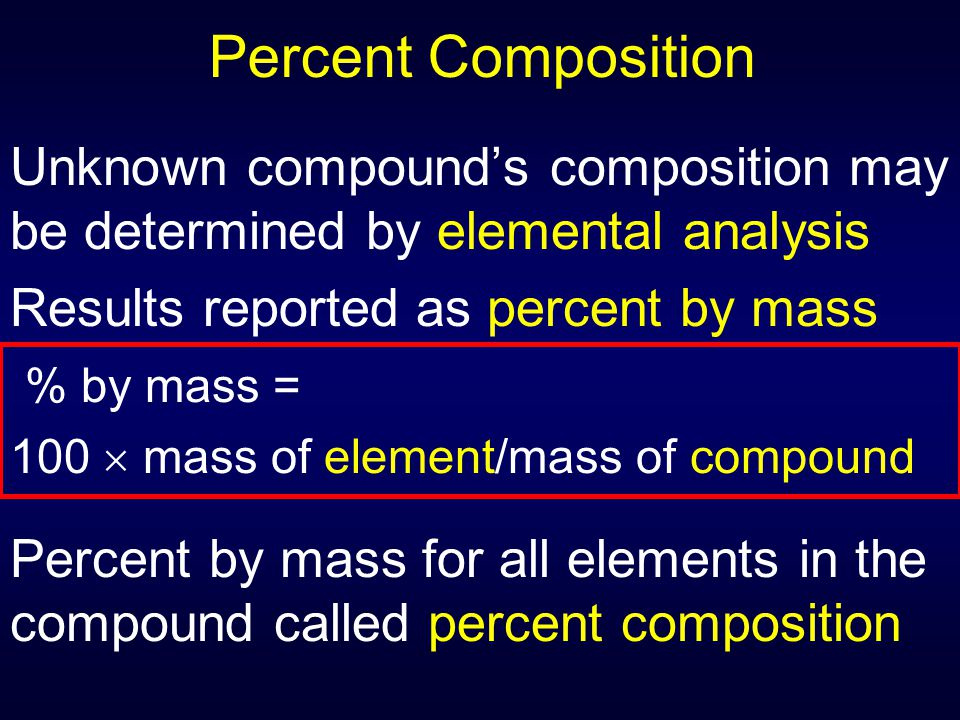 Percent Composition Unknown compound's composition may be determined by elemental analysis. Results reported as percent by mass.
