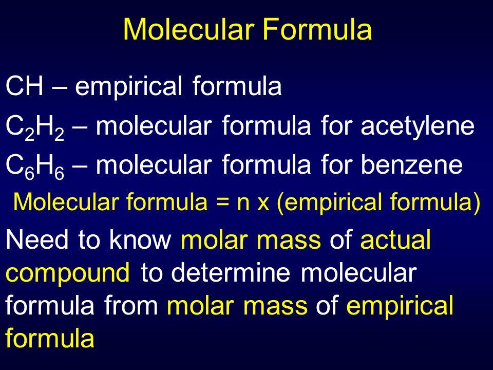 Molecular formula = n x (empirical formula)