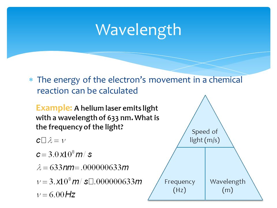 Wavelength The energy of the electron's movement in a chemical reaction can be calculated. Speed of light (m/s)