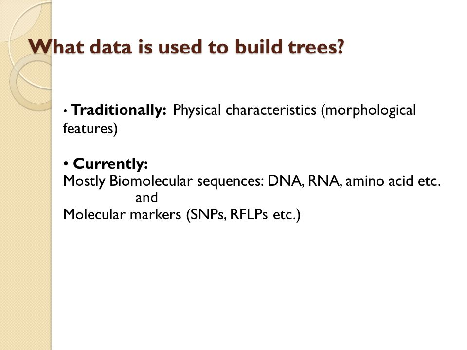 What data is used to build trees