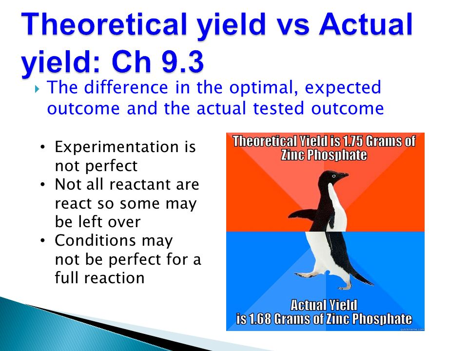 Theoretical yield vs Actual yield: Ch 9.3