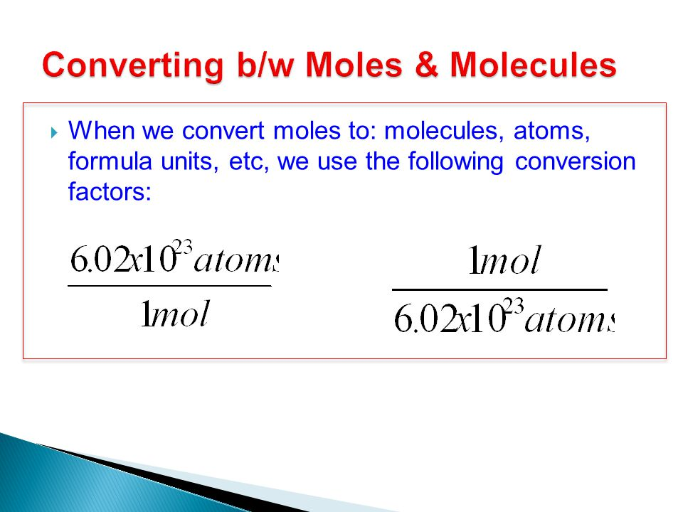 Converting b/w Moles & Molecules