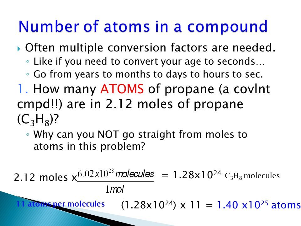 Number of atoms in a compound