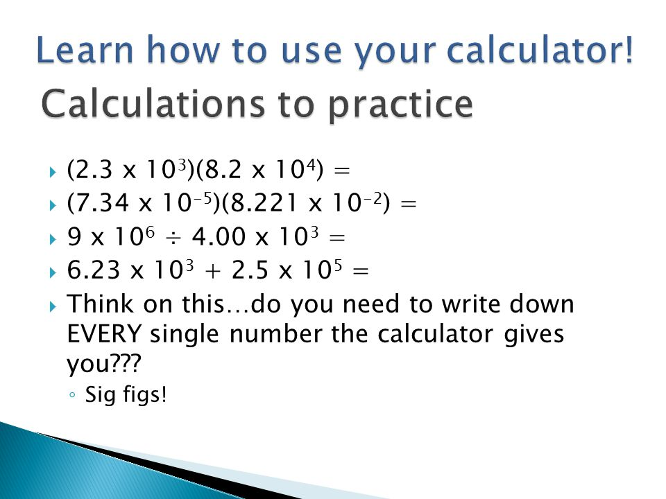 Calculations to practice