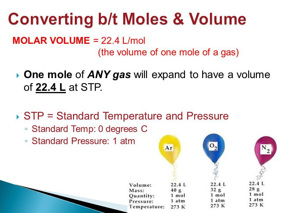 Converting b/t Moles & Volume