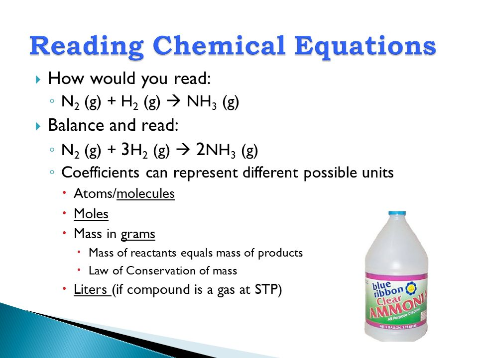 Reading Chemical Equations