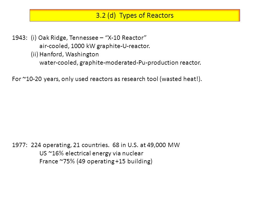 3.2 (d) Types of Reactors 1943: (i) Oak Ridge, Tennessee – X-10 Reactor air-cooled, 1000 kW graphite-U-reactor.