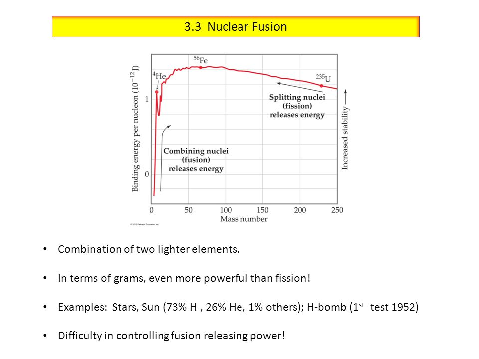 3.3 Nuclear Fusion Combination of two lighter elements.